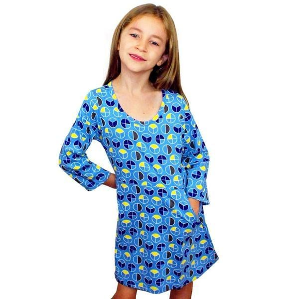 Kids Math Dress, Kids STEM Dress, Kids Geometry Dress, Kids Elementary Math Dress, Kids Shapes Dress, Fractions Print Kids Dress with Pockets - SVAHA USA