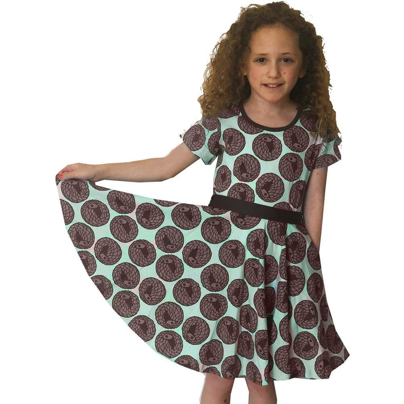Kids Pangolin Dress, Kids Anteater Dress, Kids Manis Dress, Kids Anteater Dress, Kids Animal Dress, Kids Zoo Dress, Kids Wildlife Dress, Kids Mammal Dress, Kids Pangolin Dress with Pockets - SVAHA USA