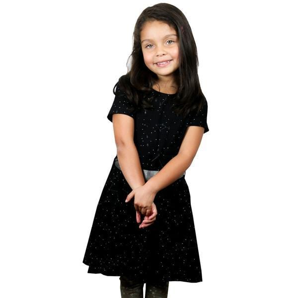 Kids Star Dress, Kids Stars Dress, Kids Galaxy Dress, Kids Solar System Dress, Kids Space Dress, Kids STEM Dress, Kids Constellations Glow-in-the-Dark Twirl Dress with Pockets - SVAHA USA
