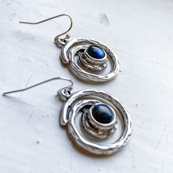 Milky Way Spiral Silver Labradorite Dangle Earrings