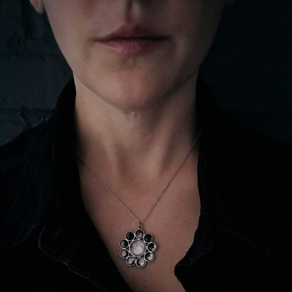 Moon Phase Halo Pendant Necklace