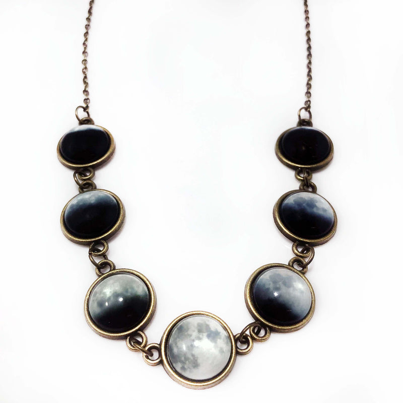 Long Moon Phases Glow-in-the-Dark Necklace - Svaha USA