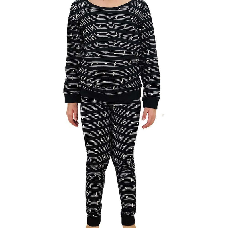 Musical Rests Kids Pajamas Set - Black - Svaha Apparel
