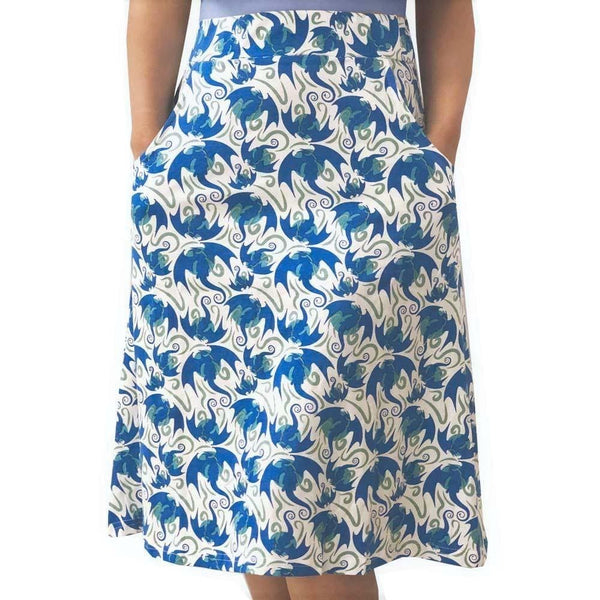 Dragon Skirt with Pockets, Flying Dragons Skirt, STEM Skirt, Mythology Skirt, Fantasy Skirt, Lizard Skirt, Game of Thrones Skirt, Flying Dragons Women's Skirt with Pockets - Svaha USA