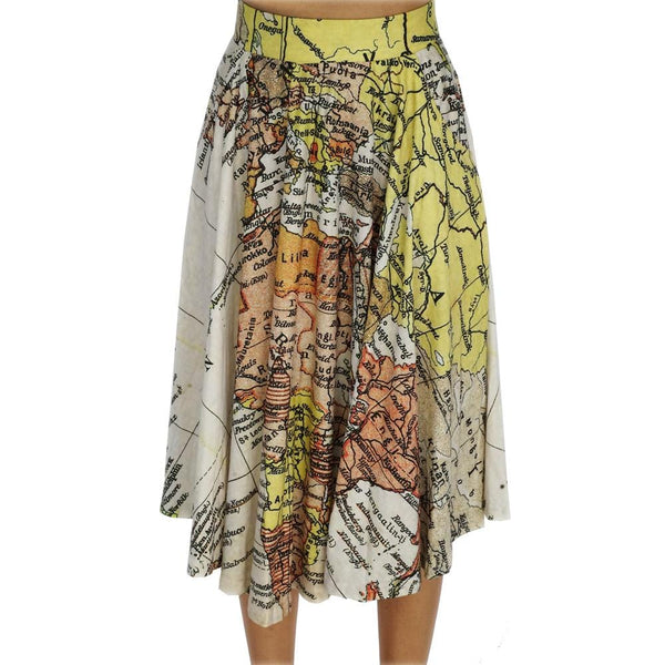 Ancient World Map Twirl Skirt