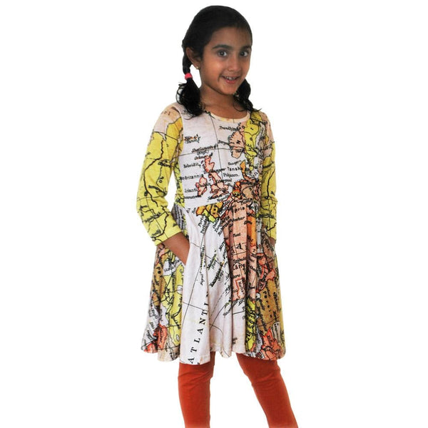 Ancient World Map Kids Twirl Dress & Leggings Set [FINAL SALE]