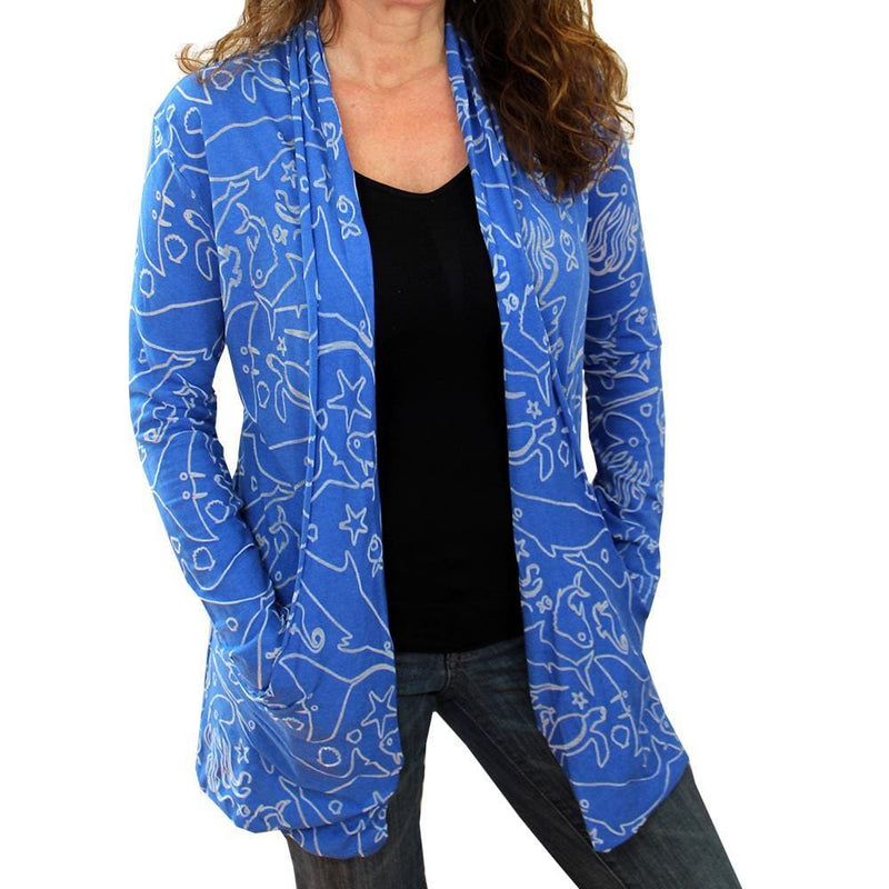 Marine Biology Cardigan, Oceanography Cardigan, Oceanographer Cardigan,STEM Cardigan, Sea Life Cardigan, Science Cardigan, Ocean Animals Cardigan with Pockets - SVAHA USA