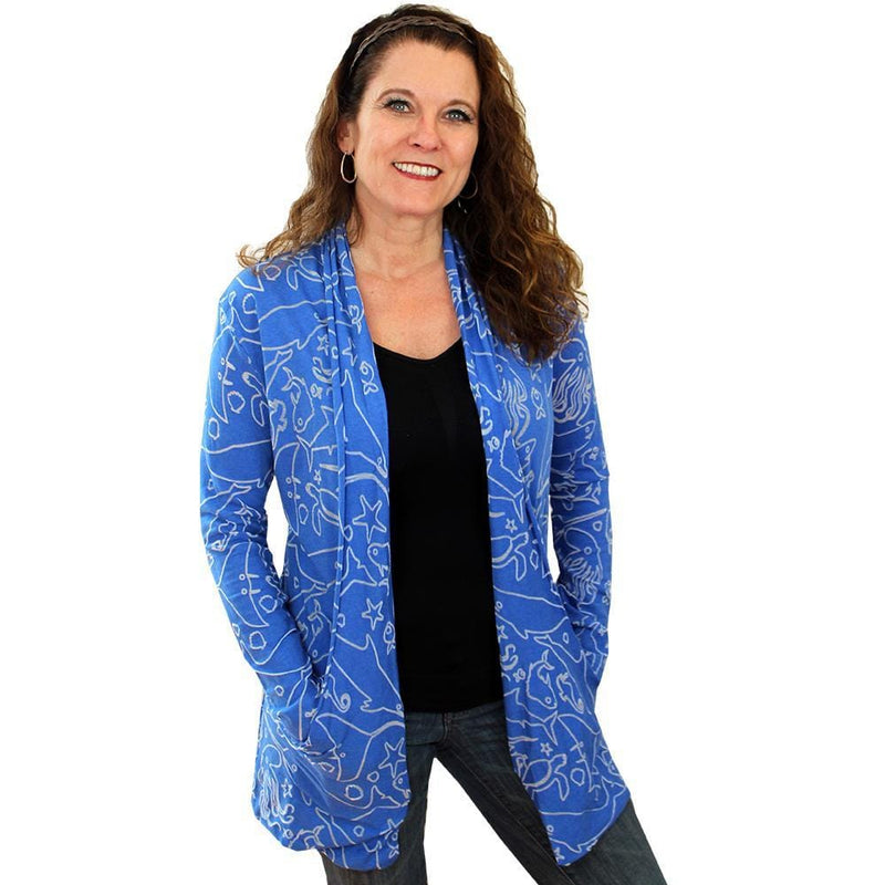 Marine Biology Cardigan, Oceanography Cardigan, Oceanographer Cardigan,STEM Cardigan, Sea Life Cardigan, Science Cardigan, Summer Cardigan, Ocean Animals Cardigan with Pockets - SVAHA USA