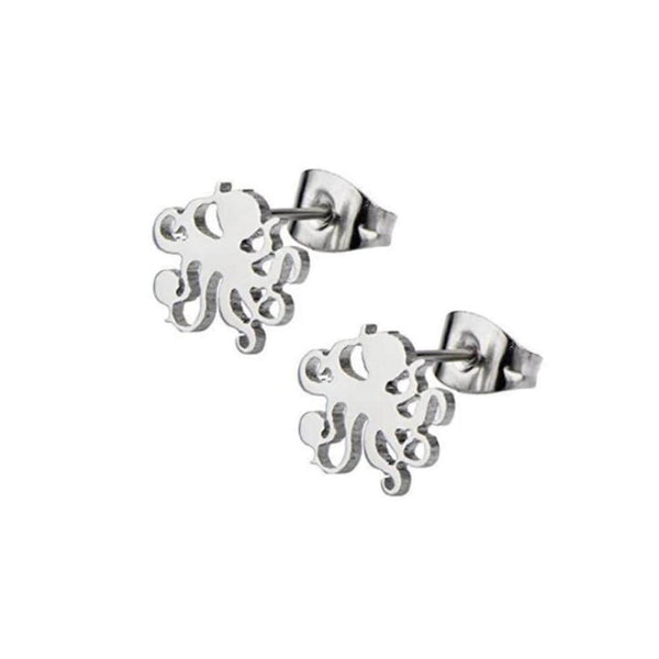 Octopus Silhouette Silver Stud Earrings