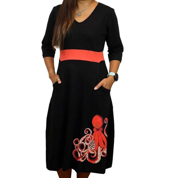 White-Spotted Octopus Glow-in-the-Dark Ruby Dress [FINAL SALE]
