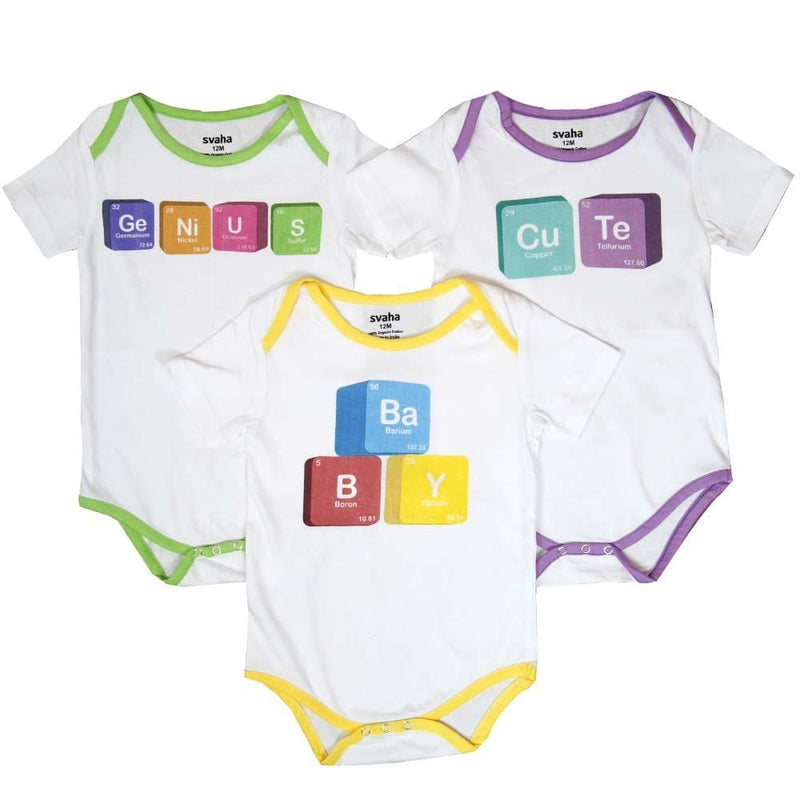 Periodic Table Blocks Baby Bodysuit Bundle - Organic Cotton 3-Pack [PLAIN] - Svaha Apparel