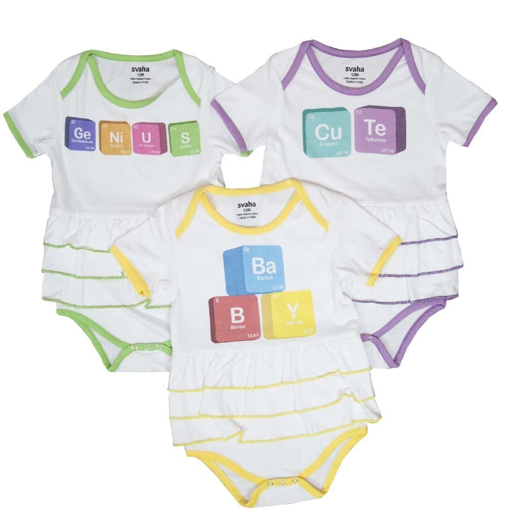 Periodic table blocks ruffled baby bodysuit bundle organic cotton ruffled frilled baby onesies with genius baby and cute in periodic table building blocks urtaz Images