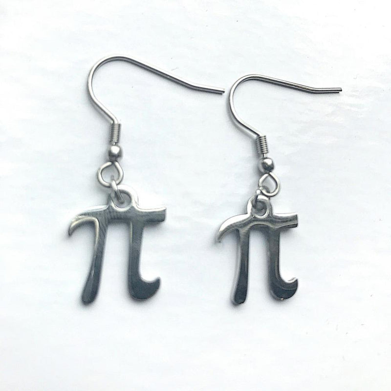 Pi Symbol Silver Dangle Earrings - Svaha Apparel