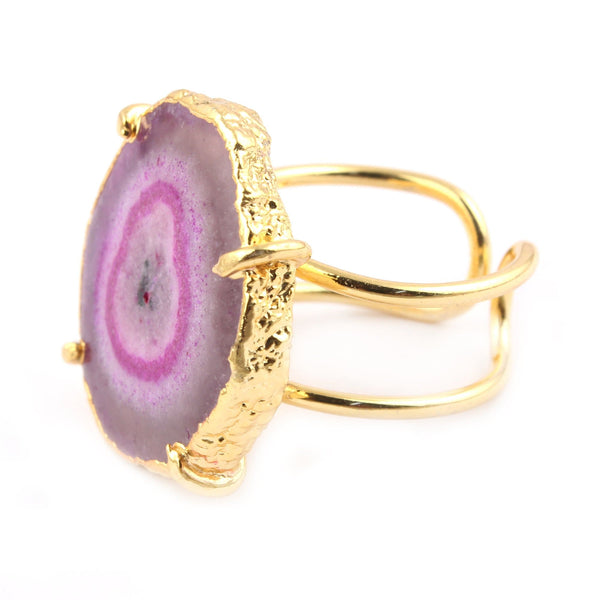Pink Solar Quartz Geode Gold Ring
