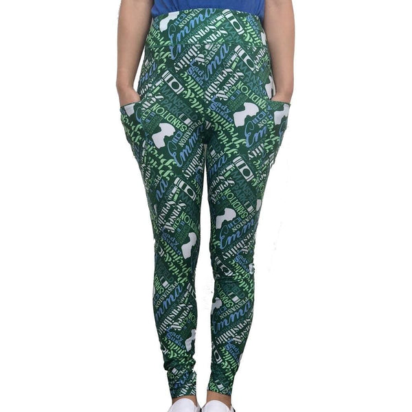 Poetry Leggings with Pockets, Printed Leggings with Pockets, Leggings with Pockets, Literature Leggings with Pockets, Language Arts Leggings with Pockets, Writer Leggings with Pockets, Women Author Leggings with Pockets, Jane Austin Leggings with Pockets - SVAHA USA