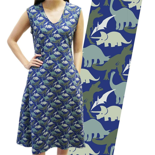 Pre-historic Animals Sleeveless Katherine Dress