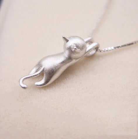 Hanging Cat Sterling Silver Necklace