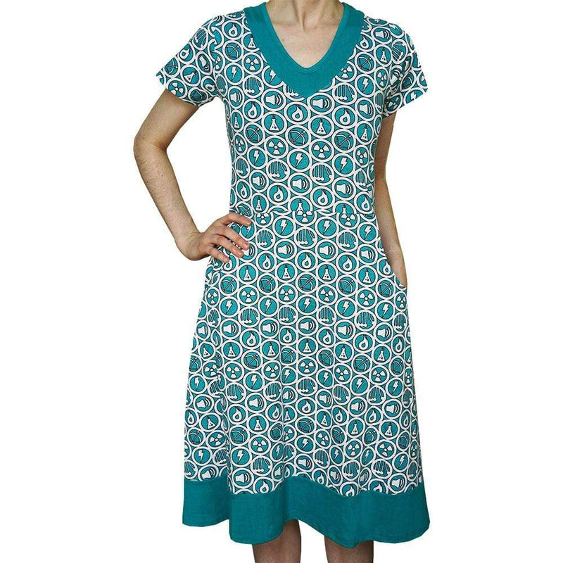 Energy Sources Dress, STEM Dress, Science Dress, Water Dress, Electricity Dress, Solar Power Dress, Wind Energy Women's Dress with Pockets - Svaha USA