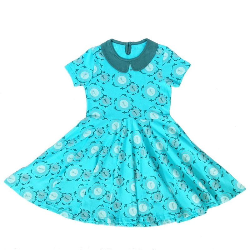 Shark Circles Kids Twirl Dress