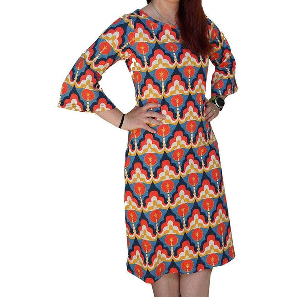 Retro Space Shuttle Dress, Space Dress, Spacecraft Dress, STEM Dress, Outerspace Dress, Astronomy Dress, Engineering Dress, Technology Dress, Science Dress, Rocket Dress, Rockets Dress, STEM Women's Bell Sleeve Dress with Pockets - SVAHA USA