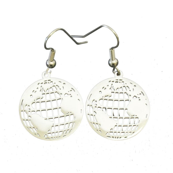 Stainless Steel World Map Earrings