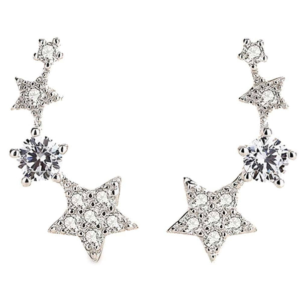Stellar Ear Crawler Silver Earrings