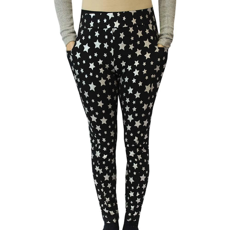 Stars Leggings with Pockets, Womens Leggings with Pockets, Black Leggings with Pockets, Star Leggings with Pockets, Science Leggings with Pockets, Space Leggings with Pockets, Astronomy Leggings with Pockets, Star Leggings with Pockets, Stars Leggings with Pockets, Womens Black Leggings with Pockets, Starry Night Sparkles Leggings with Pockets - SVAHA USA