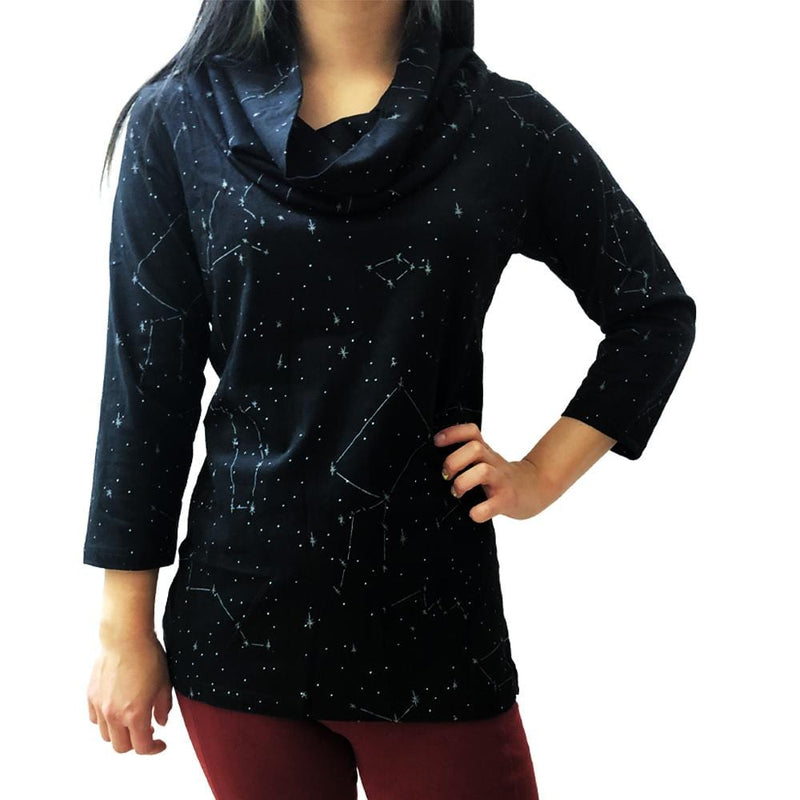 Stars Womens Shirt, Glow-in-the-Dark Shirt, Constellations Top, Astronomy Shirt, Space Womens Shirt, Outerspace Womens Shirt, Stars Womens Shirt, Star Map Womens Top, Science Womens Top, STEM Womens Top, STem Womens Blouse, Solar System Womens Shirt, Galaxy Womens Top, Science Womens Shirt, Astronomy Womens Shirt, Constellations Glow-in-the-Dark Women's Cowl Neck Blouse - SVAHA USA