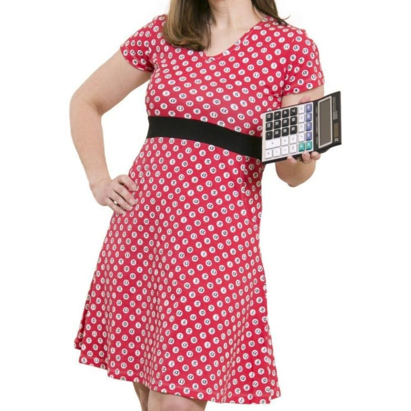 Mathematical Symbols Polka Dot Fit & Flare Dress - Svaha USA STEAM-themed products for Science, Technology, Engineering, Arts & Humanities, and Math!
