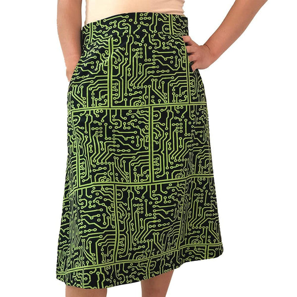 Technology Skirt, STEM Skirt, Circuit Board Skirt, Computer Science Skirt, Computer Skirt, Eurocircuits Skirt, Electronic Skirt, Electronics Skirt, Technology Skirt, Printed Circuit Board Skirt with Pockets - SVAHA USA