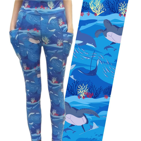Under The Sea Adults Leggings with Pockets