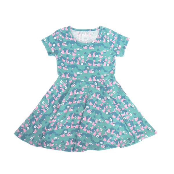 Multiplying Bunny and Eggs Kids Twirl Dress