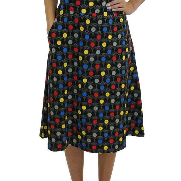 Vinyl Records A-line Skirt