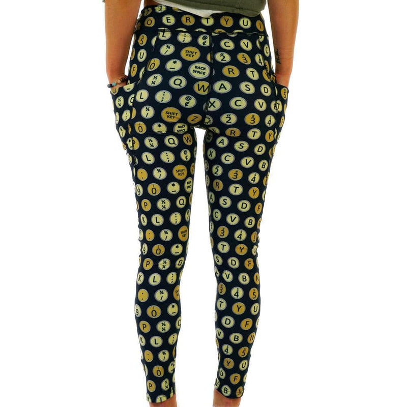 Typewriter Keys Polka Dots Adults Leggings with Pockets [FINAL SALE]