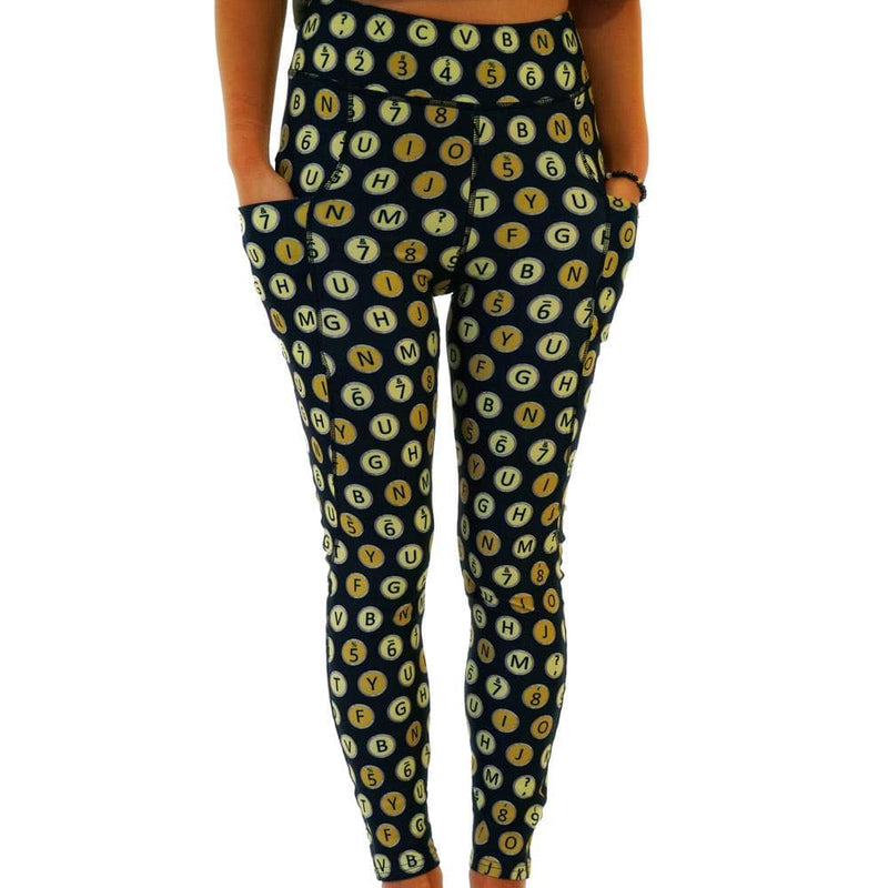 Typewriter Keys Polka Dots Adults Leggings with Pockets