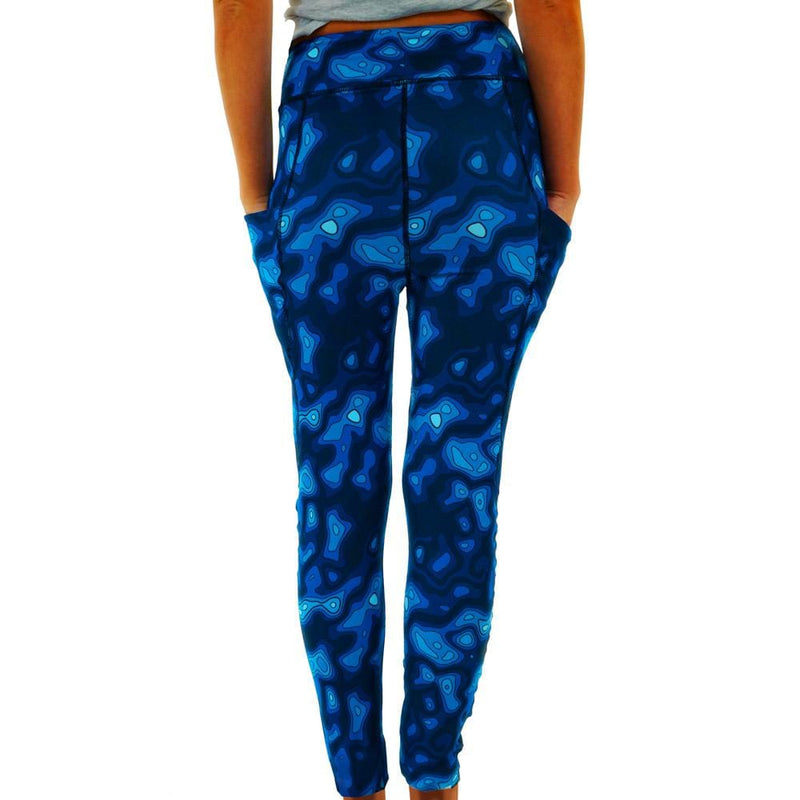 Topographic Map Adults Leggings with Pockets [FINAL SALE]