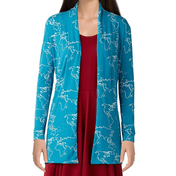 World Map Burnout Cardigan