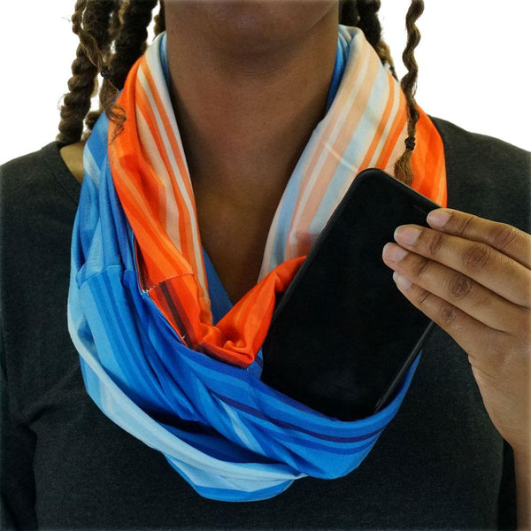 Global Warming Stripes Infinity Scarf With Pocket