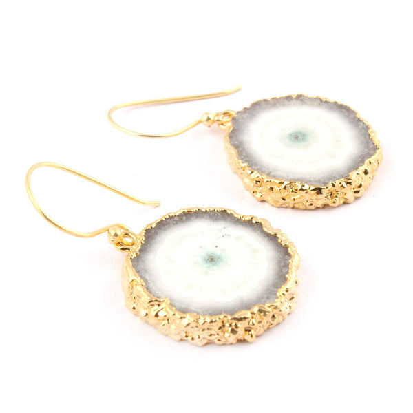 White Solar Quartz Geode Earrings