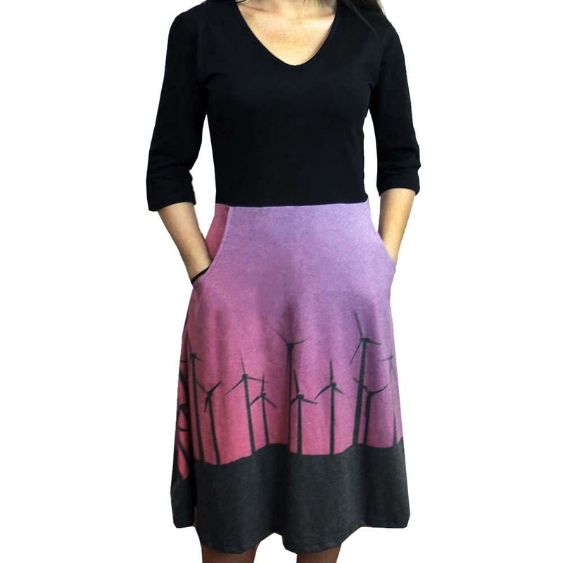 Windmill Dress, Wind Turbines Dress, Solar Energy Dress, Wind Energy Dress, Green Clean Wind Energy Dress, STEM Dress, Renewable Energy Dress, Science Technology Dress, Engineering Women's Dress with Pockets - SVAHA USA