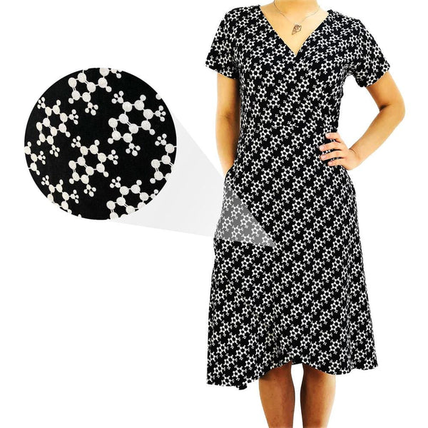Caffeine Molecule Faux Wrap Dress