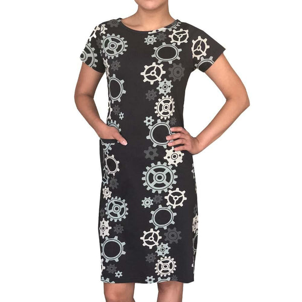 Mechanical Gears Train Stripes Dorothy Dress