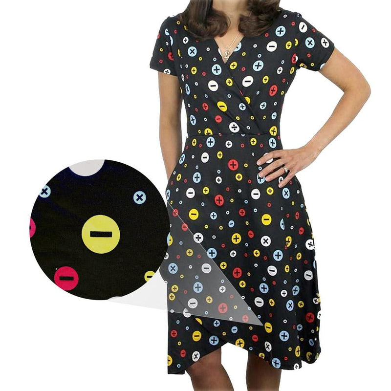 Arithmetic Symbols Polka Dots Faux Wrap Dress [FINAL SALE]