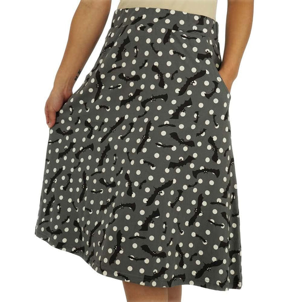 Flying Bats Glow-in-the-Dark A-Line Skirt