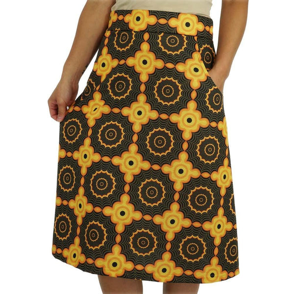 Retro Fractal Spiderweb A-Line Skirt