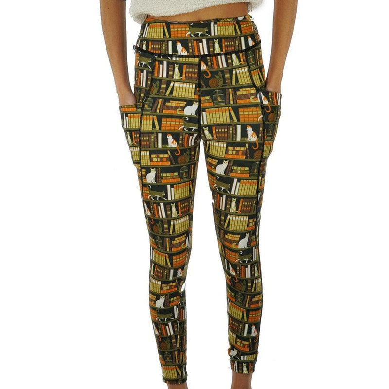 Cat-a-Log of Feline Fiction Adults Leggings with Pockets