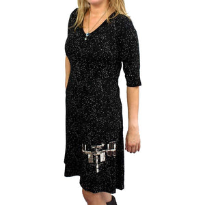 Womens Clothing, Womens ISS Dress with Pockets, Womens Glow-in-the-Dark Dress with Pockets, Science Dress with Pockets, Womens Outerspace Dress with Pockets, Womens STEM Dress with Pockets, Womens Nasa Dress with Pockets, Womens Astronomy Dress with Pockets, Womens Technology Dress with Pockets - Svaha USA