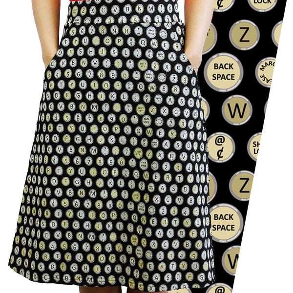 Typewriter Keys Polka Dots A-Line Skirt [FINAL SALE]