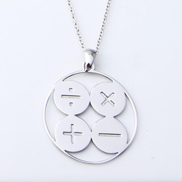 Arithmetic Symbols Sterling Silver Necklace