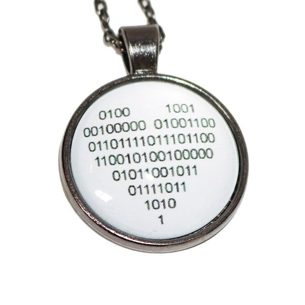 Binary Love Glass Dome Necklace [FINAL SALE]